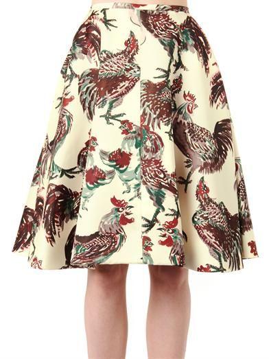 Rochas Rooster-print duchess-satin skirt