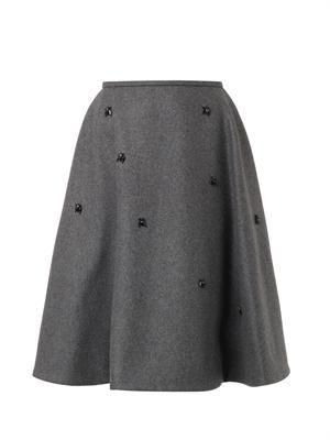 Crystal-embellished wool-blend skirt