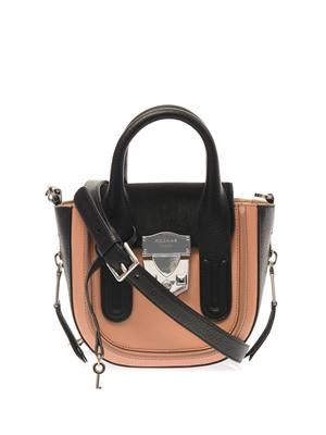 Leather and calf-hair cross-body bag