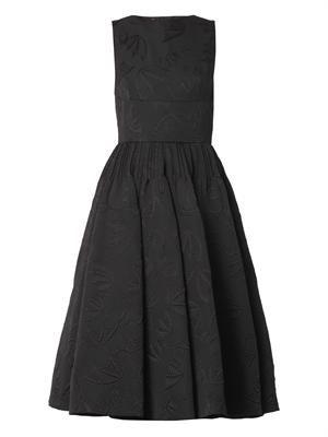 Bat-jacquard midi-length dress