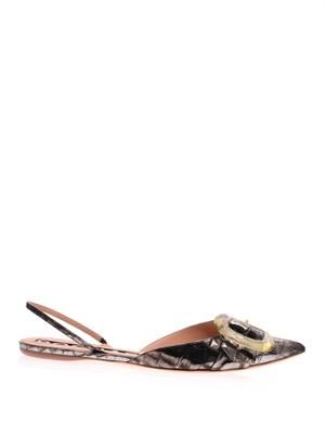Metallic stamped-leather point-toe flats