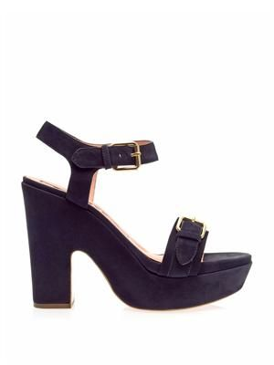 Suede block-heel sandals