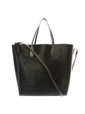 Calf-hair and leather tote