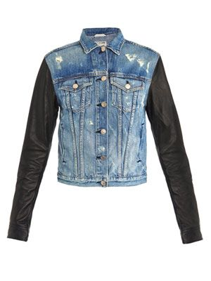 Tattered leather sleeve denim jacket