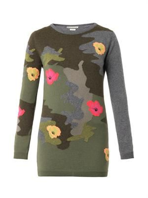 Floral camouflage sweater