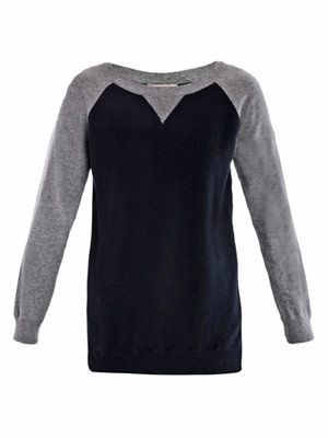 Cashmere contrast sleeve sweater