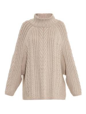 Aran-knit roll-neck sweater