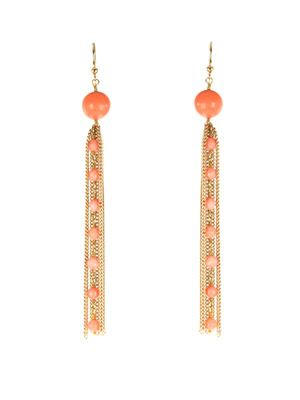 Capri coral and gold chain earrings