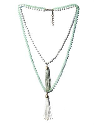 Himalaya opal and agate tassel necklace
