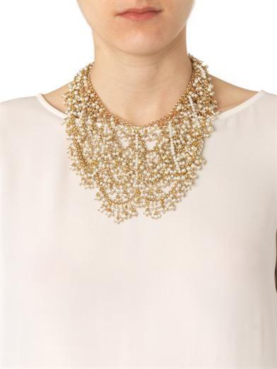 Rosantica by Michela Panero Carmen river-pearl bib necklace