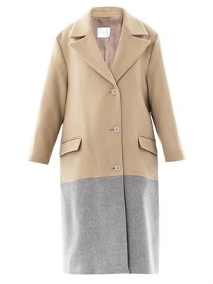 Bi-colour wool coat
