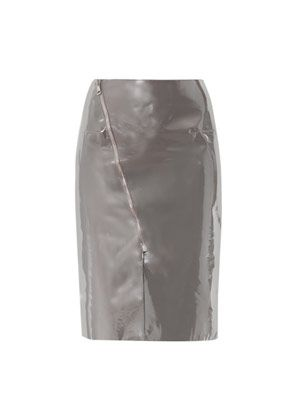 Patent leather panel skirt
