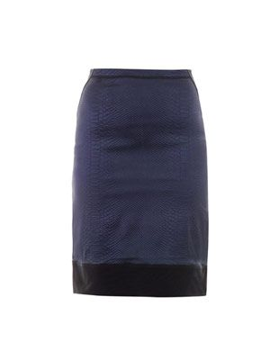 Snake-effect fitted pencil skirt