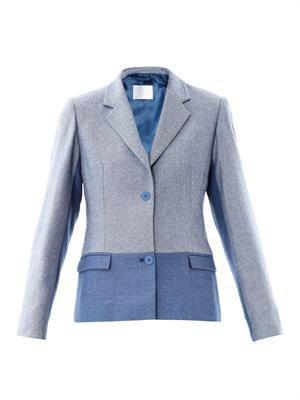 Two-tone herringbone wool blazer