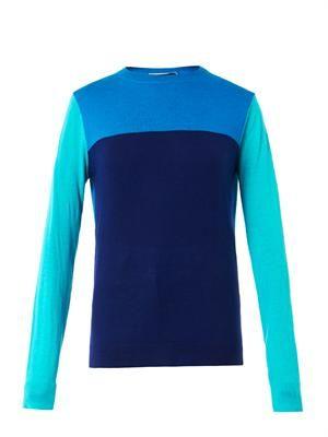 Colour-block wool-blend sweater