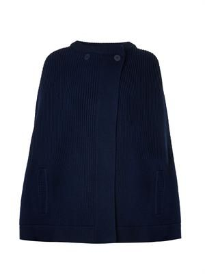 Ribbed-knit navy merino-wool cape