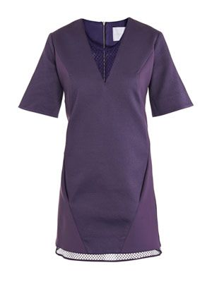 Mesh V-neck shift dress