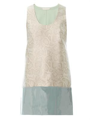 Snake-effect jacquard shift dress