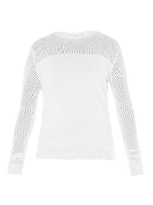 Pointelle cut out sweater