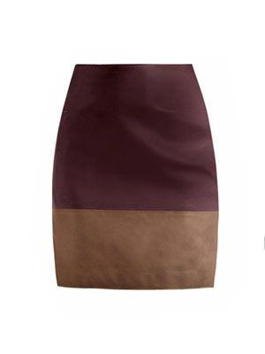 Bi-colour leather skirt