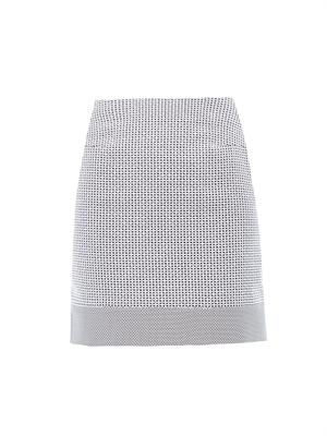 Micro-check cotton-blend skirt
