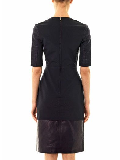 Richard Nicoll Bi-panel leather trim jacquard dress