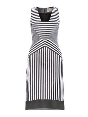 Contoured-striped jacquard dress
