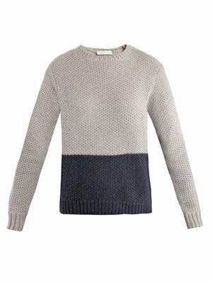 Bi-colour waffle-knit sweater