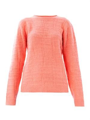 Crocodile-stitch angora sweater
