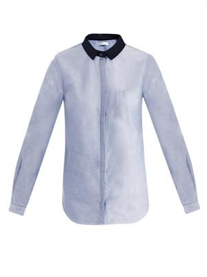 Leather collar twill shirt