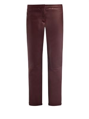 Leather chino style trousers