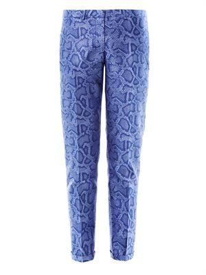 Snake-effect jacquard tailored trousers