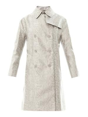 Snake-effect jacquard trench coat