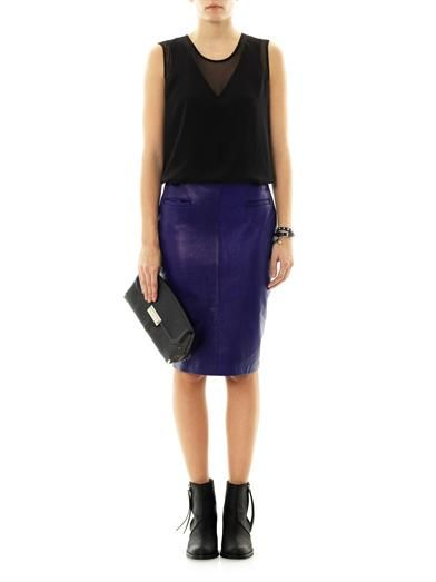 Raquel Allegra Contrast panel leather skirt