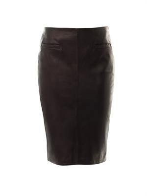 Contrast panel leather skirt