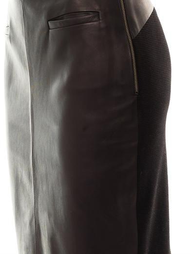 Raquel Allegra Contrast panel leather skirt
