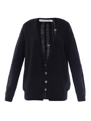 Shredded back cashmere cardigan