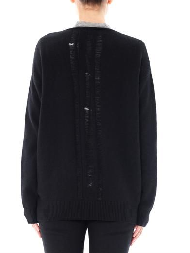 Raquel Allegra Shredded back cashmere cardigan