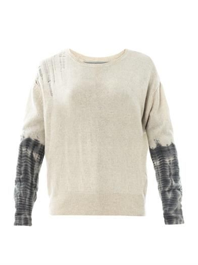 Raquel Allegra Shredded shoulder cashmere sweater