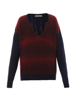 Ladder knit bi-colour sweater