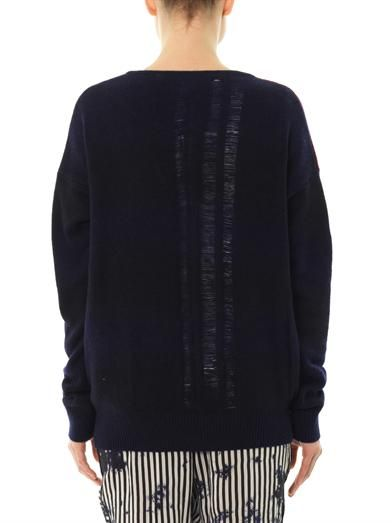 Raquel Allegra Ladder knit bi-colour sweater