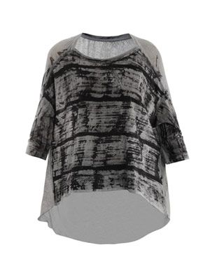 Tie-dye shredded cocoon top