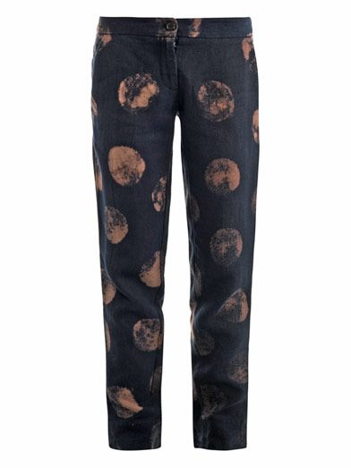 Raquel Allegra Polka-dot linen trousers