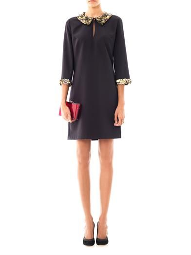 Raoul Metal sequin-trimmed collar dress