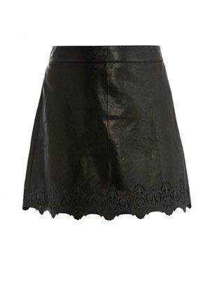 Paris laser cut leather skirt