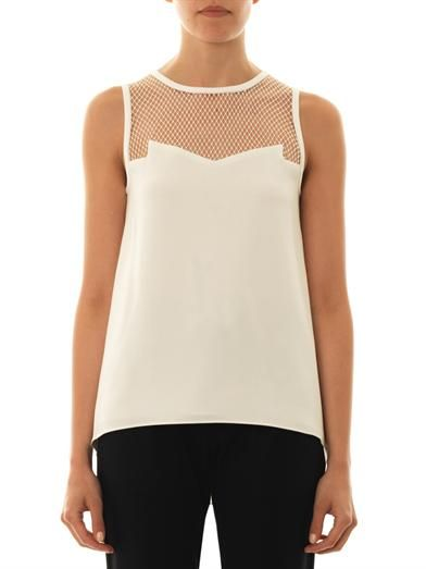 Rag & Bone Franklin net-insert crepe top