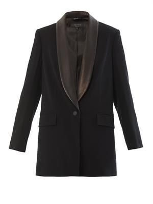 Odessa leather-trimmed blazer