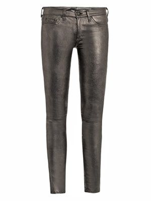Metallic leather mid-rise skinny jeans