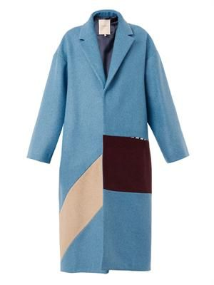 Larkin tri-colour felted-wool coat