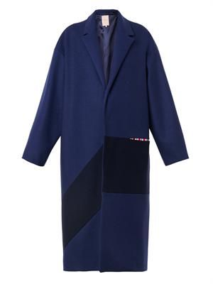 Larkin bi-colour wool-blend coat